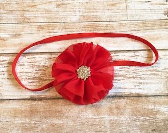 Red Flower Headband w/ Rhinestone Center/Baby Headband/Infant Headband/Baby Girl Headband/Newborn Headband