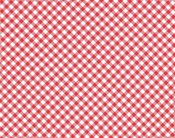 Red Bias Check Cotton Fabric from the Quilt Camp Collection by Barbara Jones for Henry Glass Fabrics