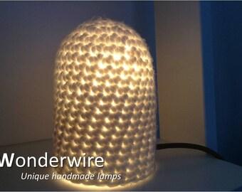 Small design table lamp - Beehive white - Wonderwire, Unique handmade lamps