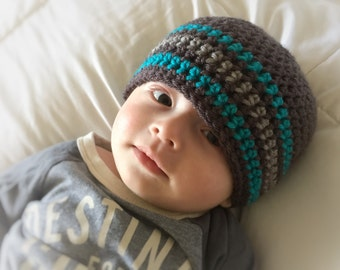 Baby Beanie in Turquoise Gris