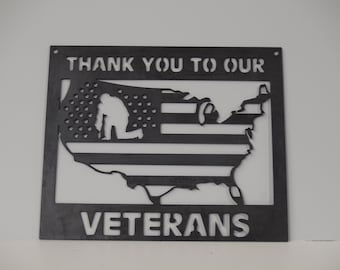 Thank You to Our Veterans Wall or Garden Sign