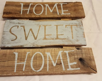 Home Sweet Home Sign - Rustic wood