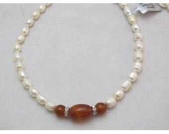 Freshwater Pearl Natural Pearl Cultured Pearl Rice Shape  17'' Per Strand