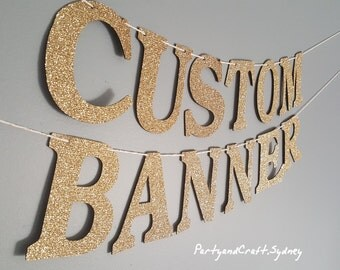 "Custom Name Banner from Gold Glitter Felt Fabric - 4.0"" Tall, First Birthday, Wedding, Baby shower, Personalize your banner, custom banners"