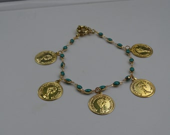 Turquoise anklet with gold coins