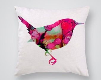 Pink Bird Decorative Pillow - Colorful Throw Pillow - Art Pillow Cover - Home Decor