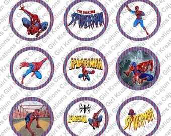 """Spiderman 1"""" Round Circles Bottle Cap Images Cupcake Toppers Instant Download Digital Emailed 4x6"""