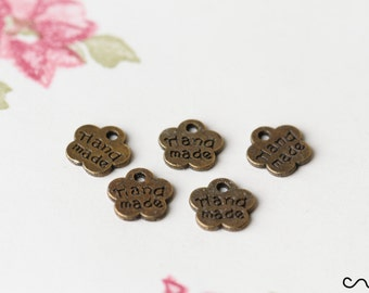 Flower HANDMADE Charm Tag Metal Pendant Antique Finishing Label Jewellery Craft