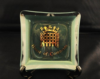 Ashtray 'House of Commons' green, glass