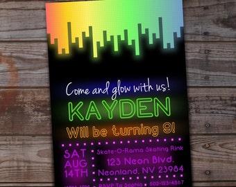 Glow Party Invitation, Neon Birthday Invitation, Glow Birthday Invitation,  Neon Party, Printable Birthday, Glow in the Dark Party