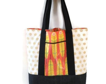 tote bag, cotton and denim tote,  beach bag, red and white, with feathers printed , vinyl pocket