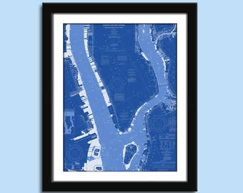 New York NY - Manhattan - Nautical Chart Decor