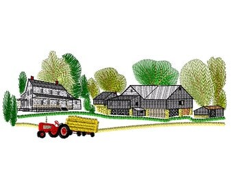 Farm and Farmhouse Embroidery Design