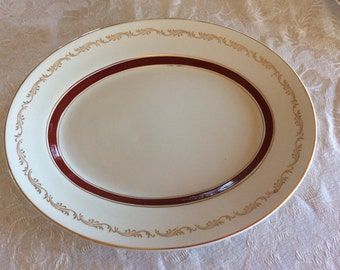 Vintage Ridgway fine china Bordeaux White Mist Oval serving plate or platter