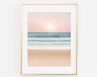Sunset Waves Beach Print, Beach Ocean Printable Wall Art, Ocean Sunset Photography, Beach Print, Fine Art Photography, Home Decor Art Print