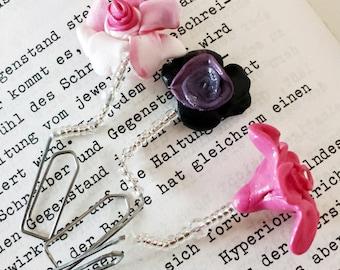 "Bookmark ""Magic flower"", flower, rose, pink, purple, white"