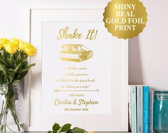 Shake it Photo Guest Book Sign, Gold Foil Custom Wedding Print, Photo Guest Book 8x10 5x7 4x6