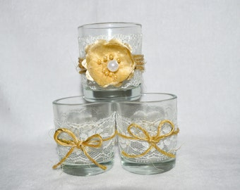 3 Votives with Lace, Jute Twine and Flower
