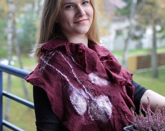 FREE SHIPPING Wool Felted scarf,  Fashion scarf,  Autumn / Winter scarf, Autumn Fashion Accessories,