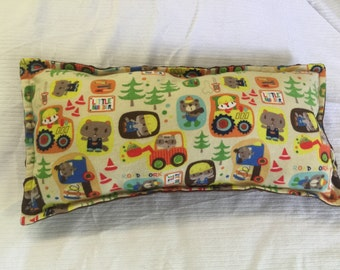 Toddler pillow, little builders, animals, nap time,