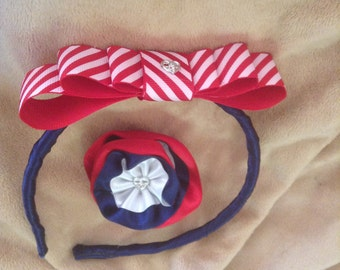 Red, White and Blue Hairband and Hair clip set.