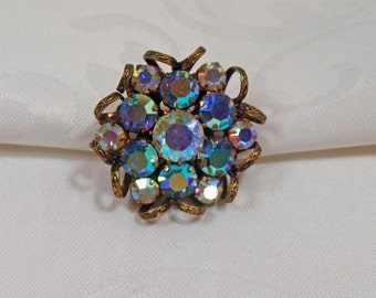 Vintage, Aurora Borealis Gold Filigree Aurora Borealis Brooch (2515)