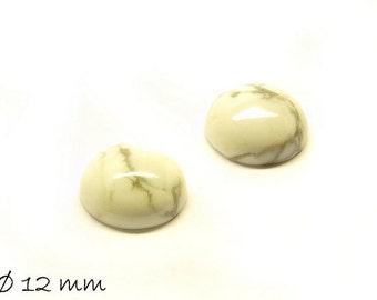2 PCs cabochons, white Howlite, 12 mm