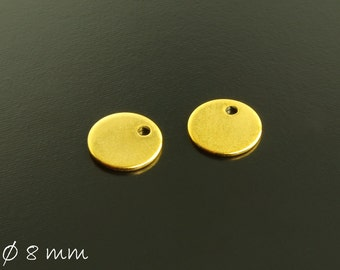 10 PCs pendant stainless steel stamp plates Ø 8 mm gold