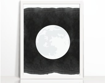 Moon, Moon Printable, La Lune, The Moon, Minimal Wall Art, Scandinavian, Watercolor, Art Printable, Bedroom Decor,  Printables, Wall Decor
