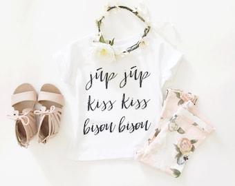 júp júp kiss kiss bisou bisou t'shirt made by jupe & olive