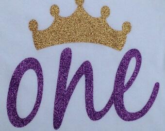 Purple Glitter One with Gold Glitter Crown Onesie for 1st Birthday