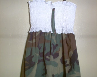 Handmade Girls Sundress Using Camouflage Fabric