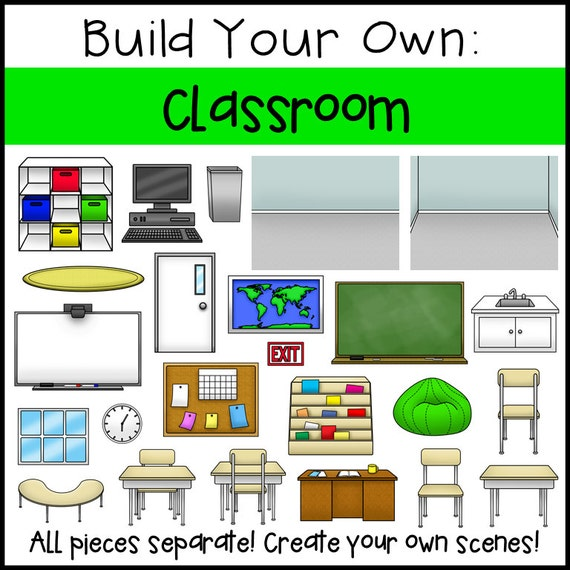Classroom Layout Clipart : Build your own classroom clip art from allisonfors on etsy