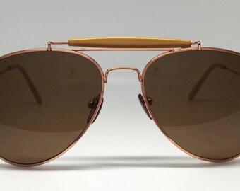 Bronze Aviator Double Bridged Sunglasses