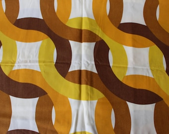 Swedish Cotton Fabric Retro Vintage Swedish Cotton Fabric 60s 70s Yellow White Brown  Swedish Cotton Table Runner Tablecloth Scandinavian