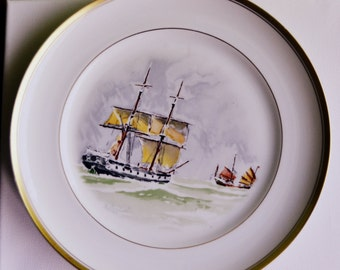 LIMITED ceramic decorative plate with boats Vintage Vista Alegre LIMITED NUMBERED  Collectible wall plate rustic home decor wall decor