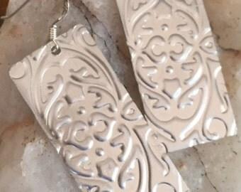 Aluminium Embossed Drop Earrings