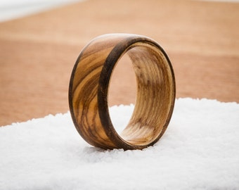 Pistachio + Olive Handmade Wooden Ring (size 10)