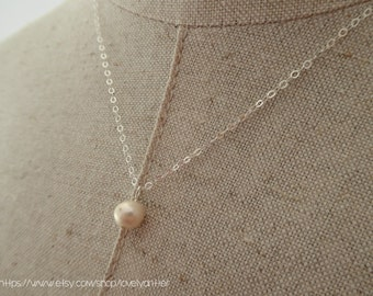 Tiny White Fresh Water Pearl Sterling Silver Necklace