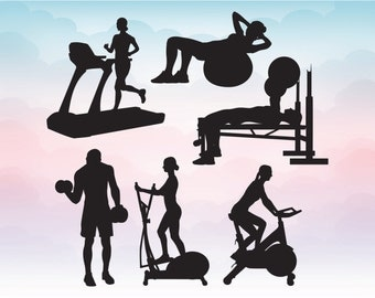 Gym training silhouettes monogram in Svg, Dxf, Eps, Ai, Pdf and transparent Png Clipart and vectors for personal and small business