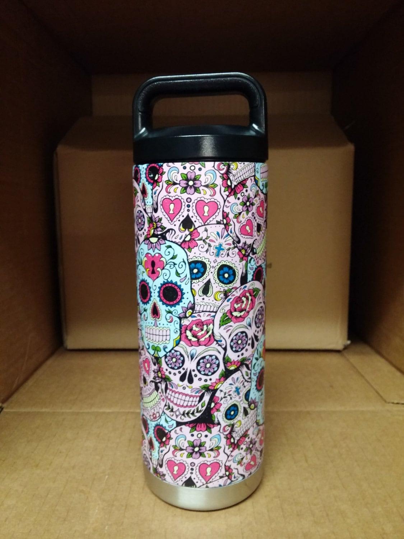 Sugar Skull Hydro Dipped Yeti Rambler Bottle My Sugar Skulls - Sugar skull yeti cup