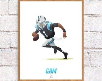 Cam Newton Illustration - 8 x 10 Art Print