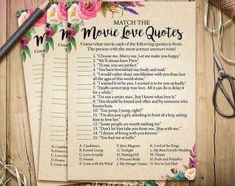 Movie Love Quote Match Game - Printable Boho Bridal Shower Movie Quote Game - Bohemian Bridal Shower Game - Bachelorette Party Games 003