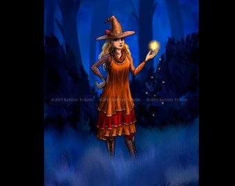 Witch Digital Painting, Harvest Witch, Halloween Art, Witch Painting, Halloween Painting, Witch Print, Wall Art, Wall Decor,