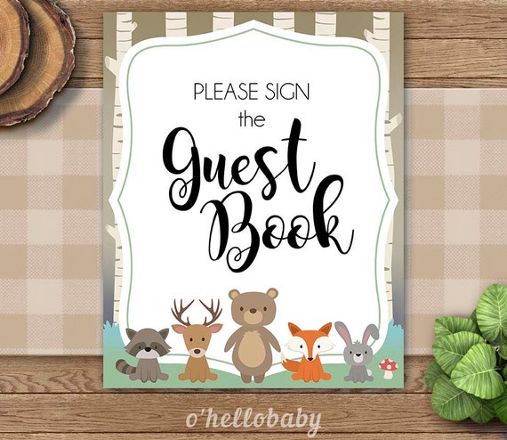 Baby Shower Please Mail Gifts ~ Woodland animals please sign the guest book table signs