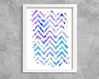 Zigzag Print, Printable Art, digital art,  Modern Wall Art, Wall Decor, Digital Download, zigzag watercolor, abstract print, blue, purple.