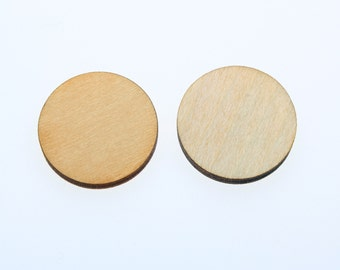 "50pcs 2.5"" (wide) x 1/8"" inch wooden circles two 2mm hole unfinished wood craft,Family Birthday Date,tags,earrings,wedding,plaque,jewelry"