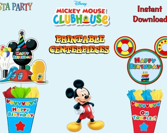 2 Mickey Mouse Clubhouse  Printable Centerpieces (Instant Download)