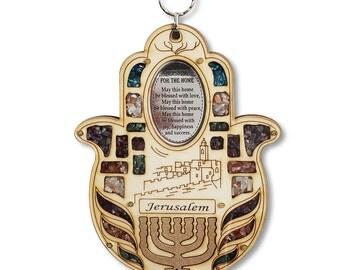 Wooden Hamsa Blessing Home - Good Luck Jerusalem Menorah Wall Decor Gemstones