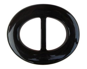 Black Oval Lucite Belt Buckle     (BB-OV-001)